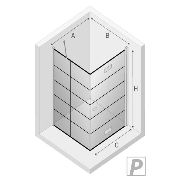NEW YORK Dusjhjørne med dobbeltdør 90 x 90 x 195 sort - Venstre