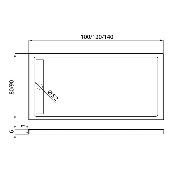 ALTER™ Rektangulært Dusjkar Hvitt (100 x 80 x 6)