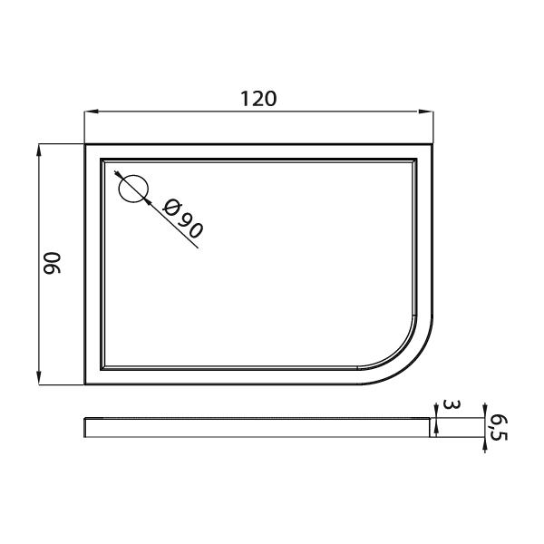 ARENA™ Rektangulært Dusjkar Hvitt (120 x 90 x 6,5)