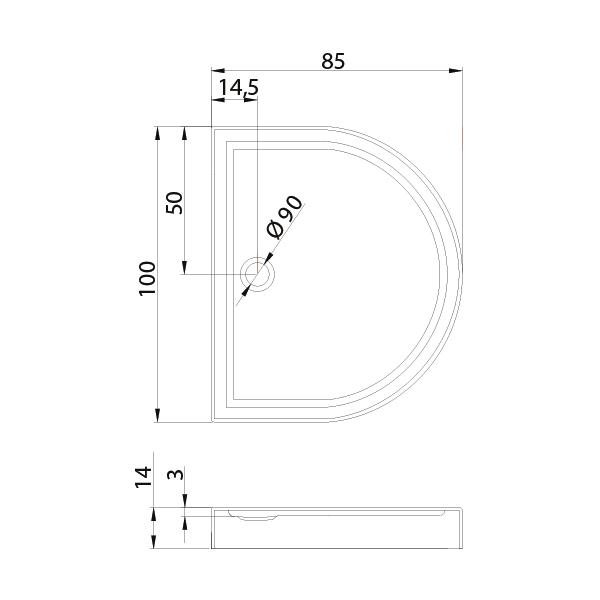 CIRCUS™ Halvrundt Dusjkar Hvitt (100 x 85 x 14) tekniske detaljer