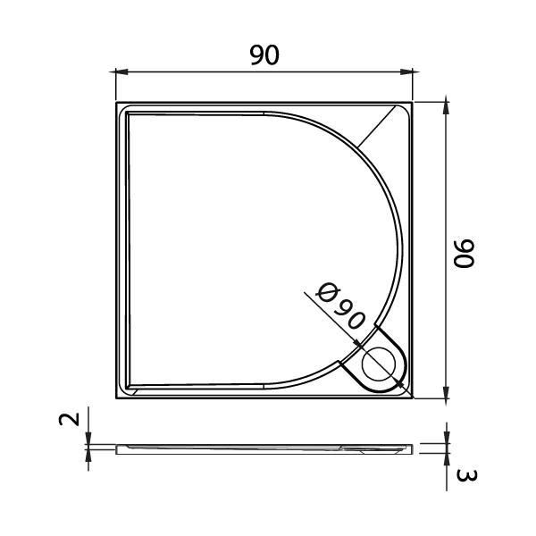 FLUO™ Rektangulært Dusjkar Hvitt (90 x 90 x 3)
