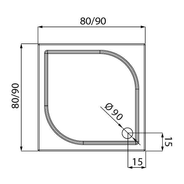 IDEO™ Kvadrat Dusjkar Hvitt (90 x 90 x 5,5)