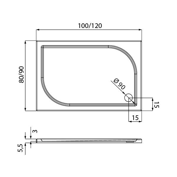 IDEO™ Rektangulært Dusjkar Hvitt (100 x 80 x 5,5)