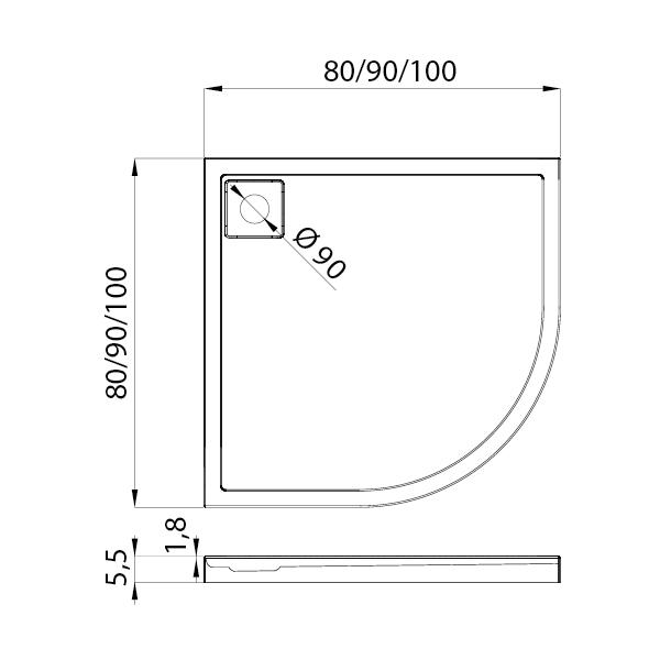 LIDO™ Kvadrant Dusjkar Hvitt (90 x 90 x 5,5)